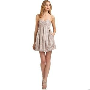 Strapless Taupe/Metallic Lace Dress Jill Stuart